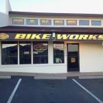 bike works sign night