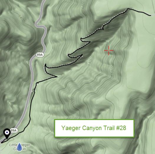 Yaeger Canyon Trail 28 Map